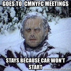 Frozen Jack - Goes to  CMNYFC meetings Stays because car won't start