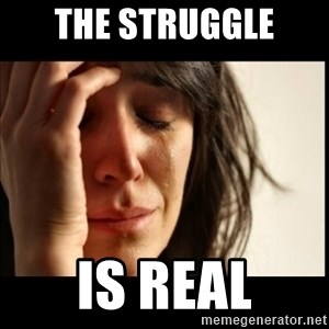First World Problems - the struggle is real