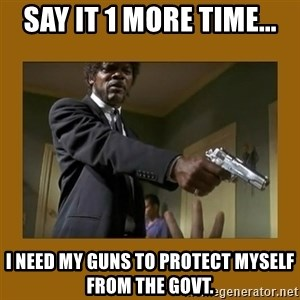 say what one more time - Say it 1 more time... I need my guns to protect myself from the govt.
