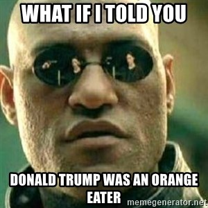What If I Told You - What if I told you Donald trump was an orange eater