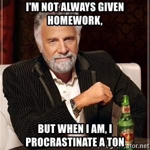 The Most Interesting Man In The World - I'm not always given homework, but when I am, I procrastinate a ton