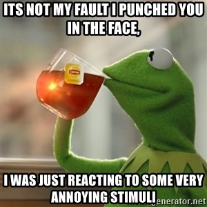 Kermit The Frog Drinking Tea - Its not my fault I punched you in the face,  I was just reacting to some very annoying stimuli