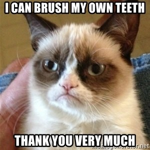 Grumpy Cat  - I can brush my own teeth Thank you very much