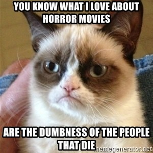 Grumpy Cat  - you know what i love about horror movies  are the dumbness of the people that die