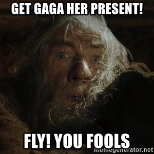 gandalf run you fools closeup - Get Gaga her present! Fly! You fools