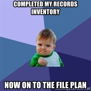 Success Kid - Completed my records inventory Now on to the file plan