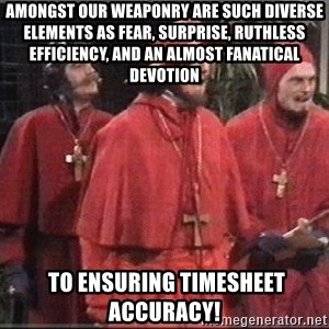 spanish inquisition - Amongst our weaponry are such diverse elements as fear, surprise, ruthless efficiency, and an almost fanatical devotion  to ensuring timesheet accuracy!