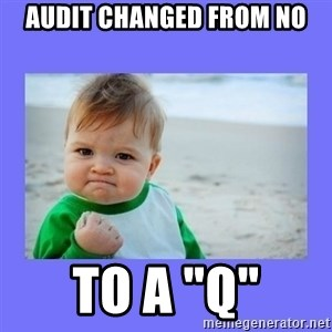 """Baby fist - Audit changed from NO to a """"q"""""""