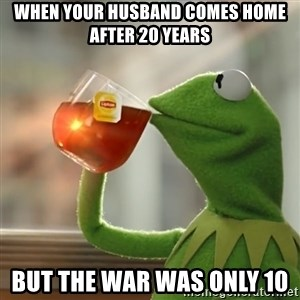 Kermit The Frog Drinking Tea - When your husband comes home after 20 Years But the war was only 10
