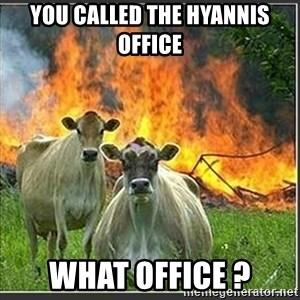 Evil Cows - you called the Hyannis Office  What Office ?