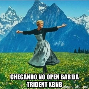 Look at all the things - chegando no open bar da Trident XBNB