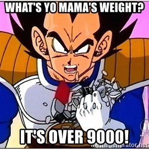 Over 9000 - What's yo mama's weight? It's over 9000!