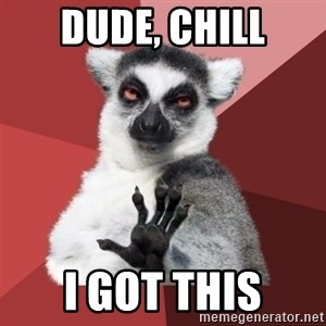 Chill Out Lemur - dude, chill I got this