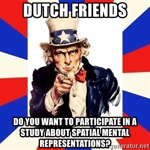 uncle sam i want you - DUTCH FRIENDS Do you want to participate in a study about spatial mental representations?