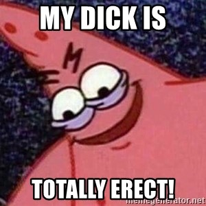 Evil patrick125 - My dick is totally erect!