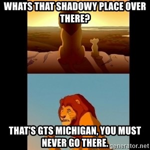 Lion King Shadowy Place - whats that shadowy place over there? That's GTS Michigan, you must never go there.