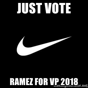 Nike swoosh - Just Vote  Ramez for VP 2018