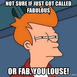 Not sure if troll - not sure if just got called fabulous or fab, you louse!