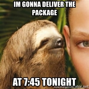 Whispering sloth - Im gonna deliver the package At 7:45 tonight