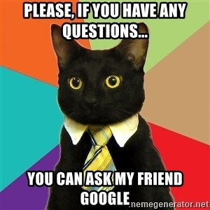 Business Cat - Please, if you have any questions... You can ask my friend Google
