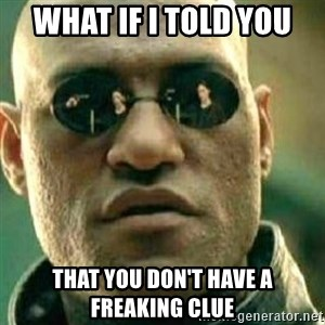 What If I Told You - what if i told you that you don't have a freaking clue