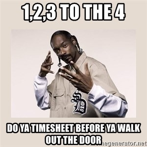 snoop dogg - 1,2,3 to the 4 do ya timesheet before ya walk out the door