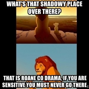 Lion King Shadowy Place - What's that shadowy place over there?   That is Roane Co Drama, if you are sensitive you must never go there