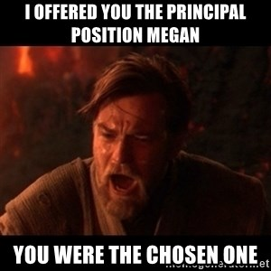 You were the chosen one  - I offered you the principal position Megan You were the chosen one