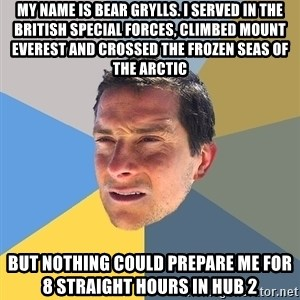 Bear Grylls - My name is Bear Grylls. I served in the British Special Forces, climbed Mount Everest and crossed the frozen seas of the Arctic but nothing could prepare me for 8 straight hours in hub 2