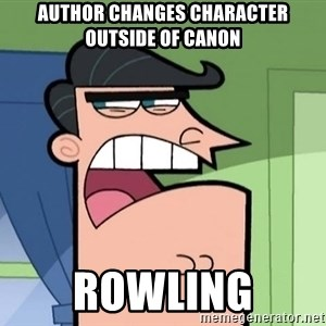 Dinkleberg - Author changes character outside of canon Rowling