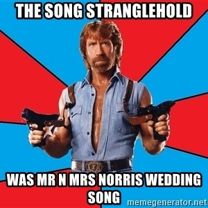 Chuck Norris  - The song stranglehold Was mr n mrs Norris wedding song