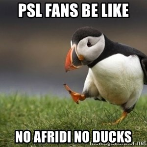 Unpopular Opinion Puffin - Psl Fans Be Like No Afridi no ducks