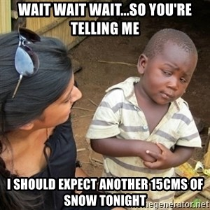 Skeptical 3rd World Kid - Wait wait wait...So you're telling me I should expect another 15cms of snow tonight