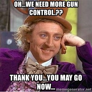 Oh so you're - OH...WE NEED MORE GUN CONTROL.?? THANK YOU...YOU MAY GO NOW...