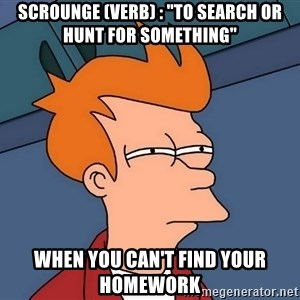 "Futurama Fry - Scrounge (Verb) : ""To search or hunt for something"" When you can't find your homework"