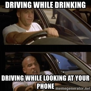Vin Diesel Car - driving while drinking driving while looking at your phone