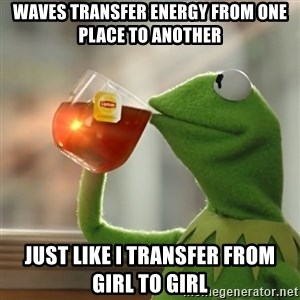 Kermit The Frog Drinking Tea - waves transfer energy from one place to another  just like I transfer from girl to girl