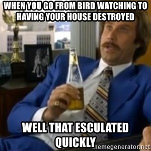 That escalated quickly-Ron Burgundy - When you go from bird watching to having your house destroyed  Well that esculated quickly