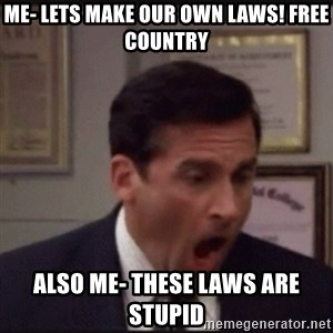 michael scott yelling NO - me- lets make our own laws! FREE COUNTRY also me- THESE LAWS ARE STUPID