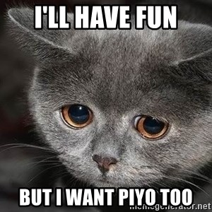 sad cat - I'll have fun But I want piyo too