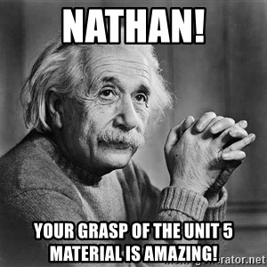 Albert Einstein - Nathan! Your grasp of the Unit 5 material is amazing!