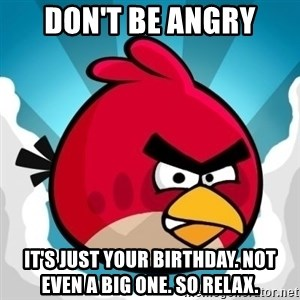 Angry Bird - Don't be angry It's just your birthday. Not even a big one. So relax.