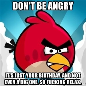 Angry Bird - Don't be Angry It's just your birthday. And not even a big one. So fucking relax.
