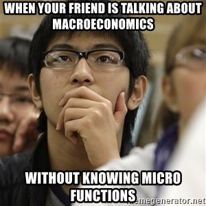Asian College Freshman - When your friend is talking about Macroeconomics Without knowing micro functions