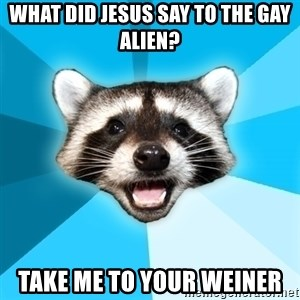 Lame Pun Coon - What did Jesus say to the Gay Alien? Take me to your weiner