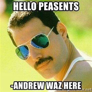 typical Queen Fan - Hello Peasents  -Andrew waz here