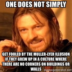 One Does Not Simply - One Does Not Simply  Get fooled by the Muller-Lyer illusion if they grew up in a culture where there are no corners on buildings or walls