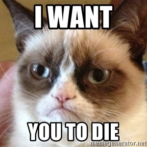 Angry Cat Meme - i want  you to die