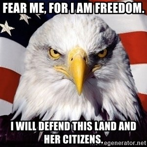 American Pride Eagle - FEAR ME, FOR I AM FREEDOM. I WILL DEFEND THIS LAND AND HER CITIZENS.