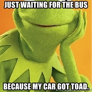Kermit the frog - Just waiting for the bus because my car got toad.